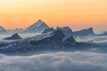 CLKMK112094 Gran Cir, Gardena Pass, Dolomites, Bolzano district, South Tyrol, Italy, Europe. View just before sunrise from the summit of Gran Cir to the Mount Antelao