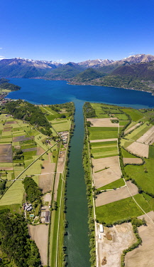CLKRM112026 Panoramic of river Adda flowing into Lake Como from above, Trivio di Fuentes, Lower Valtellina, Lombardy, Italy