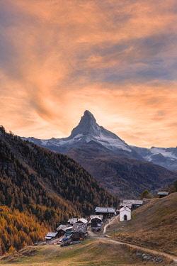 CLKFB102084 Sunset at Findeln village with Matterhorn in the background. Zermatt, Mattertal, Canton of Valais, Switzerland, Europe