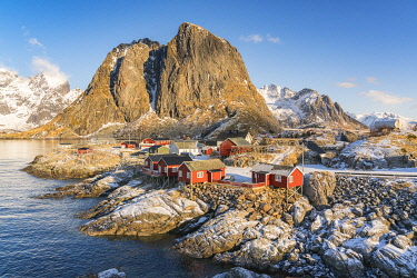 CLKFV107666 The fishing village with its traditional 'rorbus' in the winter morning light. Hamnoy, Nordland county, Northern Norway, Norway.