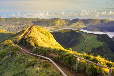 CLKFV112180 Portugal, Azores archipelago, Sao Miguel island, Sete Cidades, Boca do Inferno viewpoint, view over Lagoa Santiago and Lagoa Azul crater lakes