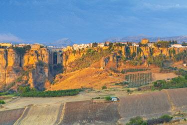 CLKRM108144 Rural landscape surrounding the citadel of Ronda on El Tajo gorge, Malaga province, Andalusia, Spain
