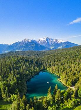 CLKRM112629 Aerial panoramic of Cresta lake (Crestasee) and woods, Flims, canton of Graubunden, Switzerland