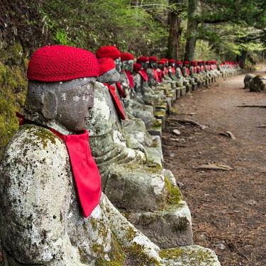 JAP1840AW Japan, Honshu, Kanto, Tochigi, Nikko listed as UNESCO World Heritage Site, Kanman-ga-Fuchi, Jizo statues on the trail