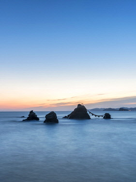 "JAP1987AW Meoto Iwa rocks also known as the ""Wedded Rocks"", Mie Prefecture, Japan"