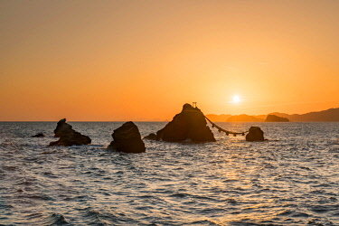 """JAP1988AW Meoto Iwa rocks at sunrise also known as the """"Wedded Rocks"""", Mie Prefecture, Japan"""
