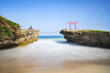 JAP1996AW Red torii gate of the Shirahama Jinja Shrine, Shimoda, Shizuoka Prefecture, Honshu, Japan