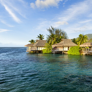 FPO0472AW Overwater bungalows on Moorea, Windward Islands, French Polynesia