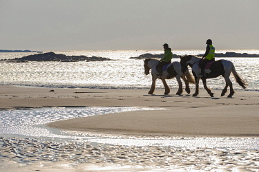 SCO35450 United Kingdom, Scotland, Outer Hebrides, North Uist, Benbecula, Horseriding (MR)