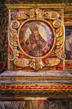 ES09578 Spain, Canary Islands, Fuerteventura Island,  Betancuria, Iglesia de Santa Maria church, altar detail