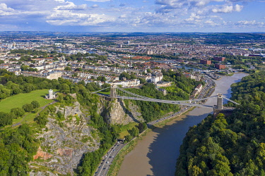 Aerial view over the Avon Gorge and Clifton Suspension Bridge, Bristol, England