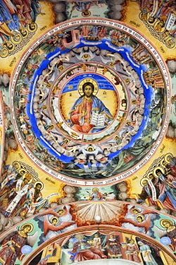 BUL290AW Frescoes by Zahari Zograf in the exterior of the Nativity Church. Rila Monastery (Monastery of Saint Ivan of Rila), the largest Eastern Orthodox monastery in Bulgaria. A UNESCO World Heritage Site. Ri...