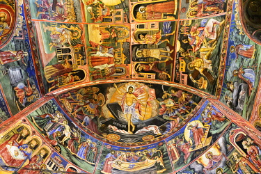 BUL291AW Frescoes of the Troyan Monastery (Monastery of the Dormition of the Most Holy Mother of God). It is the third largest monastery in Bulgaria and is located in the Balkan mountains. It was founded in th...