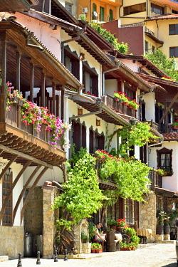 BUL296AW The oldest street in Veliko Tarnovo, General Gurko street, with charming old houses. Veliko Tarnovo, Bulgaria