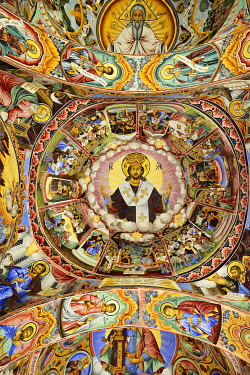 BUL299AW Frescoes by Zahari Zograf in the exterior of the Nativity Church. Rila Monastery (Monastery of Saint Ivan of Rila), the largest Eastern Orthodox monastery in Bulgaria. A UNESCO World Heritage Site. Ri...