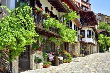 BUL316AW The oldest street in Veliko Tarnovo, General Gurko street, with charming old houses. Veliko Tarnovo, Bulgaria