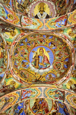 BUL325AW Frescoes by Zahari Zograf in the exterior of the Nativity Church. Rila Monastery (Monastery of Saint Ivan of Rila), the largest Eastern Orthodox monastery in Bulgaria. A UNESCO World Heritage Site. Ri...