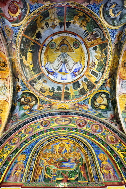 BUL326AW Frescoes of the Troyan Monastery (Monastery of the Dormition of the Most Holy Mother of God). It is the third largest monastery in Bulgaria and is located in the Balkan mountains. It was founded in th...