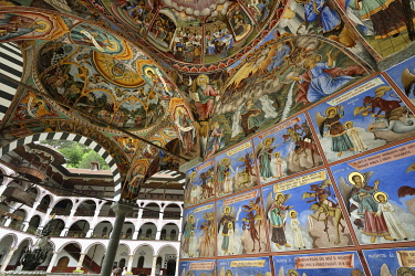 BUL338AW Frescoes by Zahari Zograf in the exterior of the Nativity Church. Rila Monastery (Monastery of Saint Ivan of Rila), the largest Eastern Orthodox monastery in Bulgaria. A UNESCO World Heritage Site. Ri...