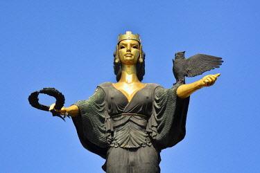 BUL339AW Statue of Sveta Sofia (Statue of Saint Sophia) by the sculptor Georgi Chapkanov, with the symbols of power (crown), fame (wreath) and wisdom (owl). Sofia, Bulgaria