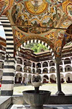BUL356AW Frescoes by Zahari Zograf in the exterior of the Nativity Church. Rila Monastery (Monastery of Saint Ivan of Rila), the largest Eastern Orthodox monastery in Bulgaria. A UNESCO World Heritage Site. Ri...