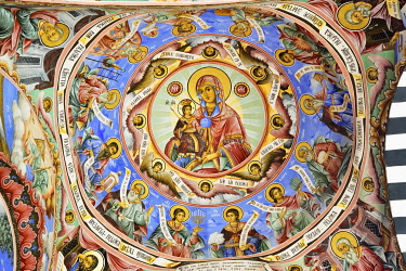 BUL358AW Frescoes by Zahari Zograf in the exterior of the Nativity Church. Rila Monastery (Monastery of Saint Ivan of Rila), the largest Eastern Orthodox monastery in Bulgaria. A UNESCO World Heritage Site. Ri...