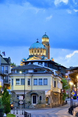 BUL381AW Cathedral of the Nativity of the Blessed Virgin at dusk. Veliko Tarnovo, Bulgaria