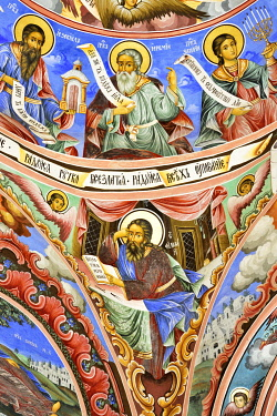 BUL404AW Frescoes by Zahari Zograf in the exterior of the Nativity Church. Rila Monastery (Monastery of Saint Ivan of Rila), the largest Eastern Orthodox monastery in Bulgaria. A UNESCO World Heritage Site. Ri...