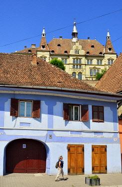 ROM1548AW Traditional houses in Sighisoara, Transylvania. Romania