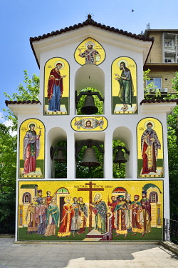 ROM1571AW Tiles of the Biserica Sfantul Spiridon Vechi (St. Spiridon Old Orthodox Church), Bucharest. Romania