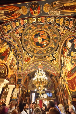ROM1573AW Frescoes of the Biserica Sfantul Spiridon Vechi (St. Spiridon Old Orthodox Church), Bucharest. Romania