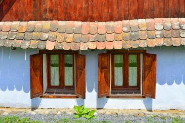 ROM1574AW Windows of traditional Saxon houses in Viscri, a Unesco World Heritage Site. Brasov county, Transylvania. Romania