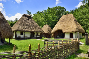 ROM1587AW Peasant homestead from Mierta-Dragu, Salaj County. ASTRA Museum of Traditional Folk Civilization, an open-air museum outside Sibiu, Transylvania. Romania