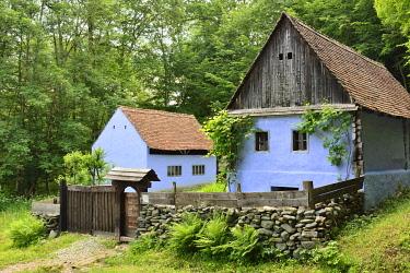 ROM1589AW Traditional farmhouse of Sebesu de Jos, Sibiu county. ASTRA Museum of Traditional Folk Civilization, an open-air museum outside Sibiu, Transylvania. Romania