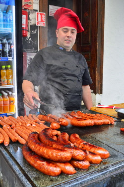 ROM1603AW The delicious traditional sausages of Bran, very tasty and spicy.  Brasov county, Romania