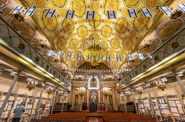 ROM1651AW Interior of the Great Synagogue. It was raised in 1845 by the Polish-Jewish community. Bucharest, Romania