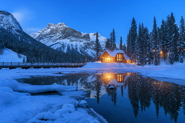 CAN3502AW Winter Chalet at Night, Emerald Lake, British Columbia, Canada