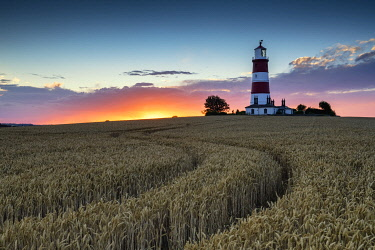ENG16210AW Happisburgh Lighthouse at Sunset, Norfolk, England