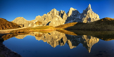 ITA14552AW Pale di San Martino Reflecting in Lake, Passo Rolle, Dolomites, Italy
