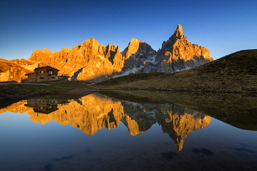 ITA14553AW Pale di San Martino Reflecting in Lake, Passo Rolle, Dolomites, Italy