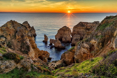 POR10773AW Ponta da Piedade Sea Stacks and Arches at Sunrise, Algarve, Portugal