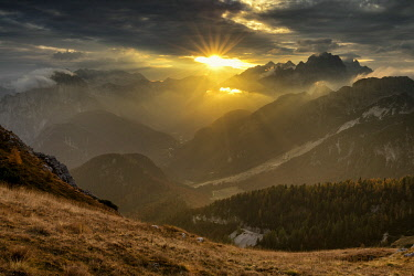 SLV1504AW Mangart Pass at Sunset, Triglav National Park, Julian Alps, Slovenia