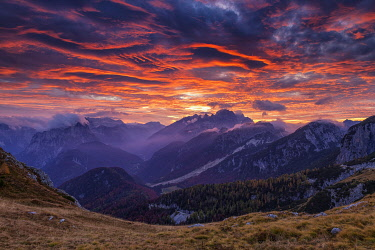 SLV1506AW Mangart Pass at Sunset, Triglav National Park, Julian Alps, Slovenia