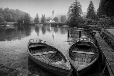SLV1508AW Boats on Lake Bohinj,  Triglav National Park, Slovenia