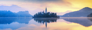 SLV1514AW Assumption of Mary's Pilgrimage Church at Dawn, Lake Bled, Slovenia