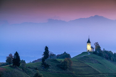 SLV1518AW Dawn at Jamnik Church, Slovenia
