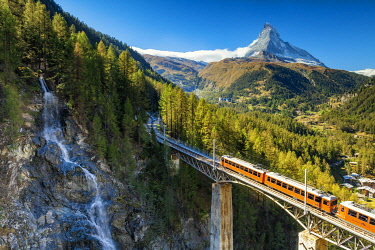 SWI8405AW Mountain Train & Matterhorn, Zermatt, Valais Region, Switzerland
