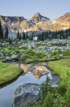 CN02AMA0001 Mountains reflected in creek, subalpine meadows of Marriott Basin, Coast Mountains, British Columbia