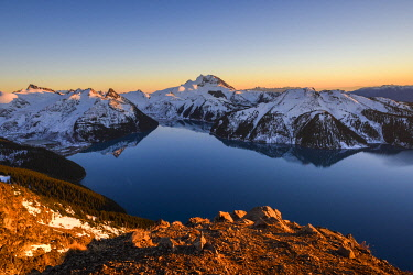 CN02YCH0041 Canada, British Columbia, Garibaldi Provincial Park. Panorama Ridge at sunset.