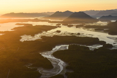 CN02YCH0061 Canada, British Columbia, Pacific Rim National Park. Aerial view of Clayoquot Sound and Lone Cone.